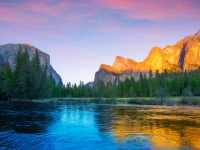 Yosemite Merced River el Capitan and Half Dome